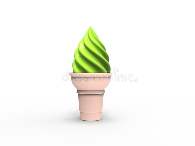 Green ice cream in small cone royalty free illustration