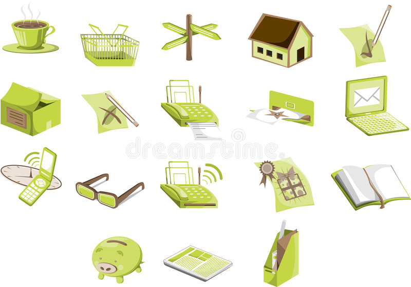 Green Icons. A set of green illustrated business icons stock illustration