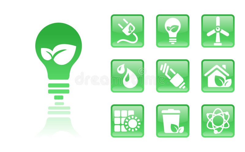 Green-icons-bulb stock illustration