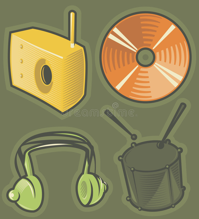 Download Green icons for music stock vector. Image of drum, engraving - 8670817