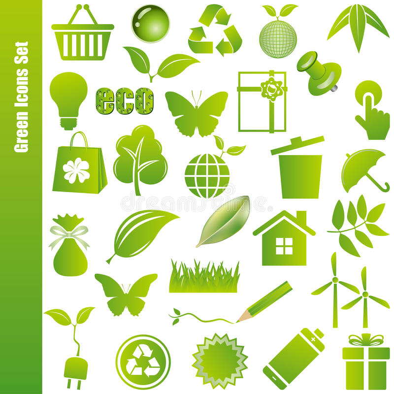 Download Green Icons Set Royalty Free Stock Photos - Image: 19123868