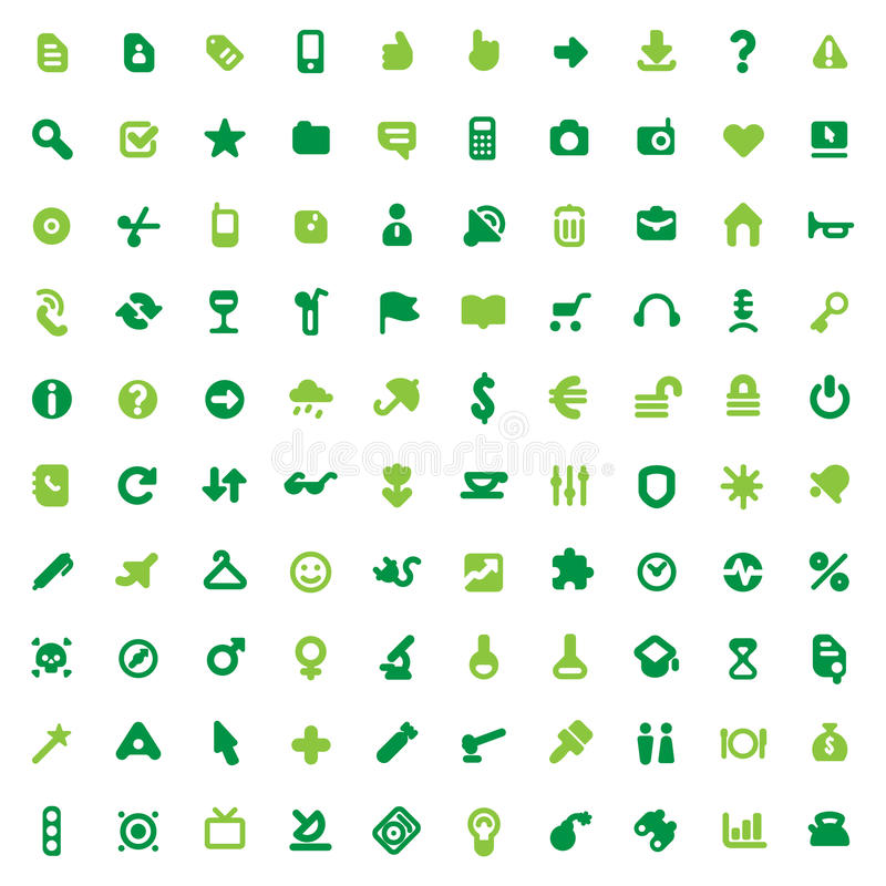 Green icons and signs