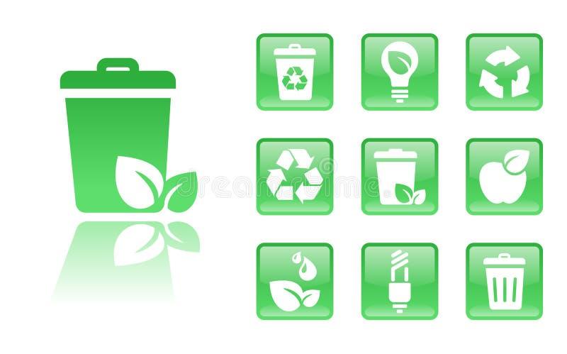 Green-icons-trash royalty free illustration