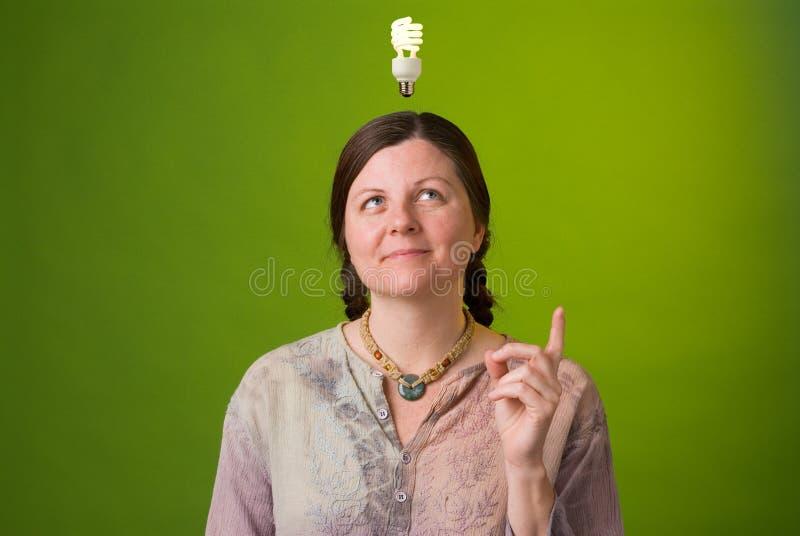 Green idea. An environmentalist has a green idea royalty free stock image