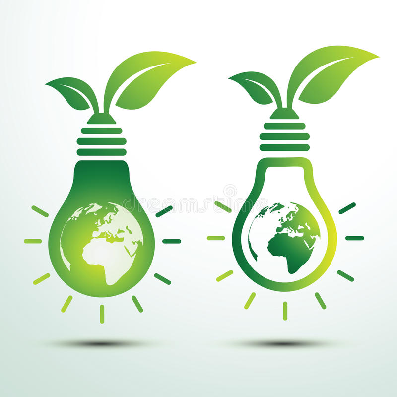 Green idea. Ecology idea green bulb and earth with leave vector illustration royalty free illustration