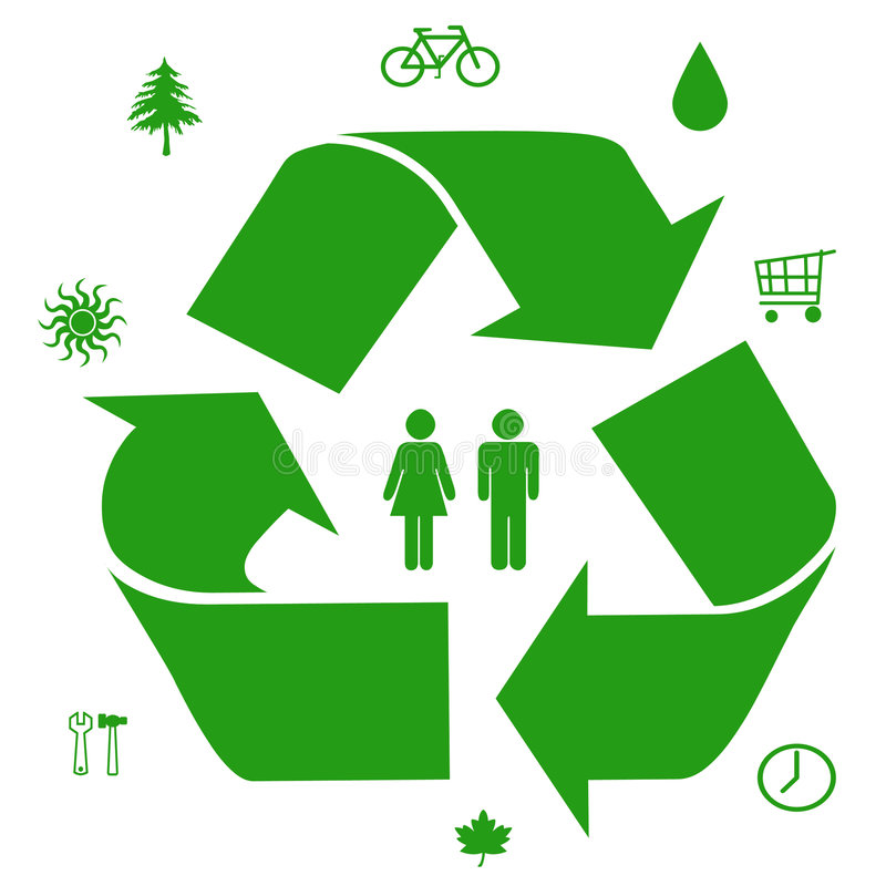 Green ideas. Go green symbols ways to save our resources illustration royalty free illustration