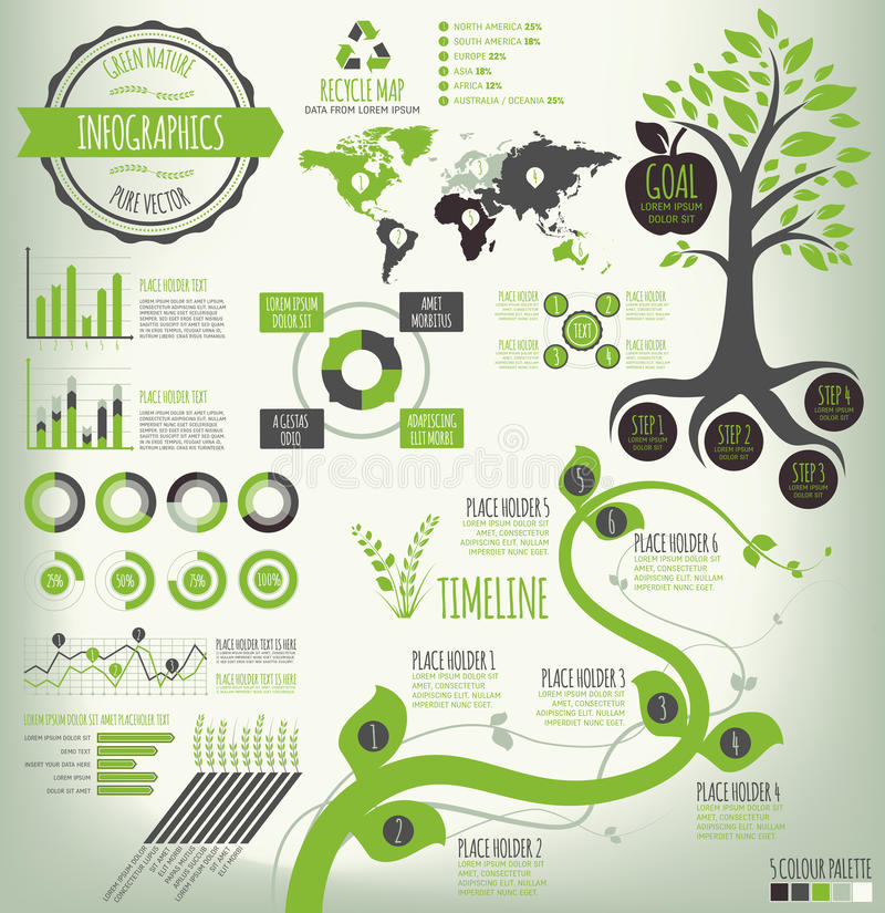 Green Infographics. Green Nature Infographics. Nature infographic elements for data visualization. Vector EPS v.10 file. Easy to edit, elements on different