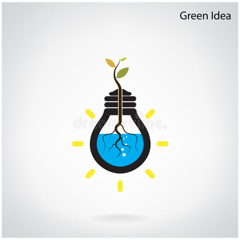 Green and initiative concept. Tree of green idea shoot grow in a stock illustration