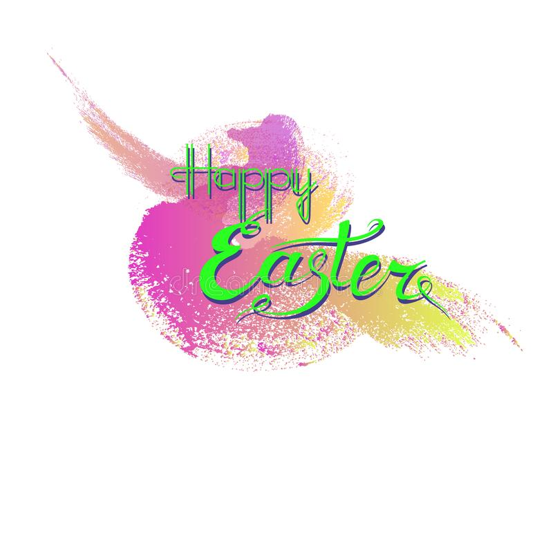 Green inscription Happy Easter on a background of purple brush s stock photos