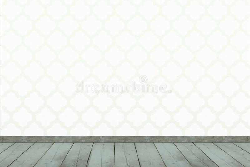 green interior decor background with moroccan style print wallpaper and weathered wooden floor stock photo