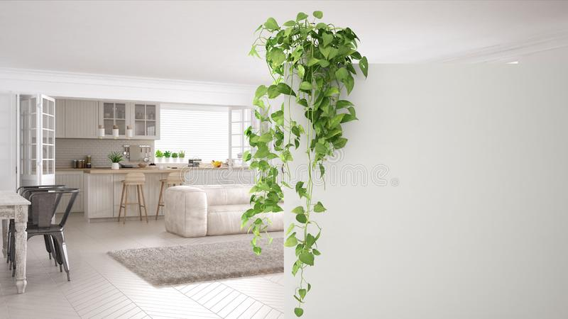 Green interior design concept background with copy space, foreground white wall with potted plant, contemporary white living room. Green interior design concept stock illustration