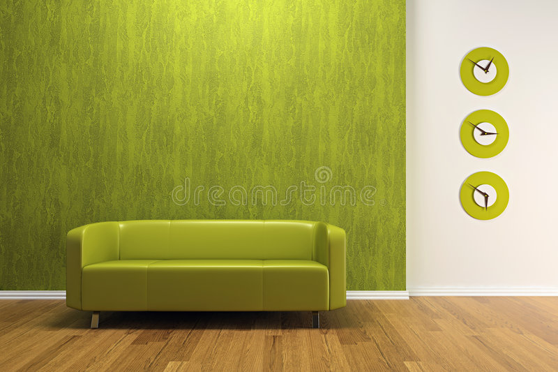 Green interior with sofa vector illustration