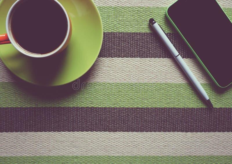 Green Iphone 5c Next To Coffee Mug Free Public Domain Cc0 Image
