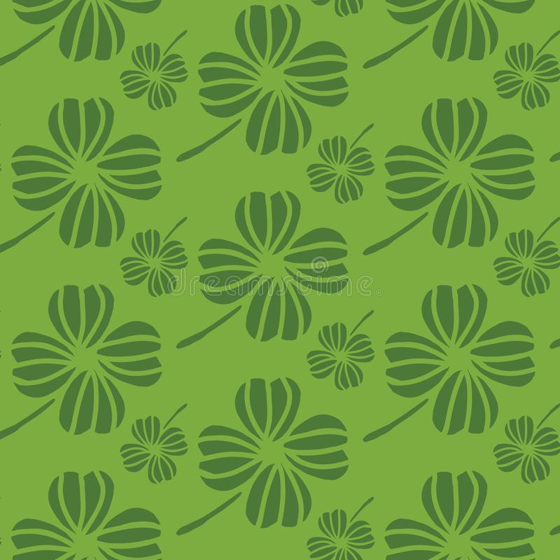 Green Irish shamrocks design in a stylized modern style. Ideal for St Patricks day, home decor, fabric, stationery. Vector seamless pattern vector illustration