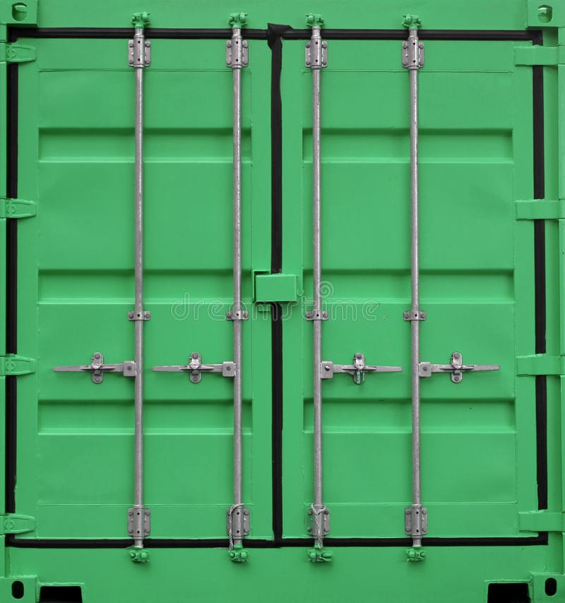 Green iron freight container background stock photo