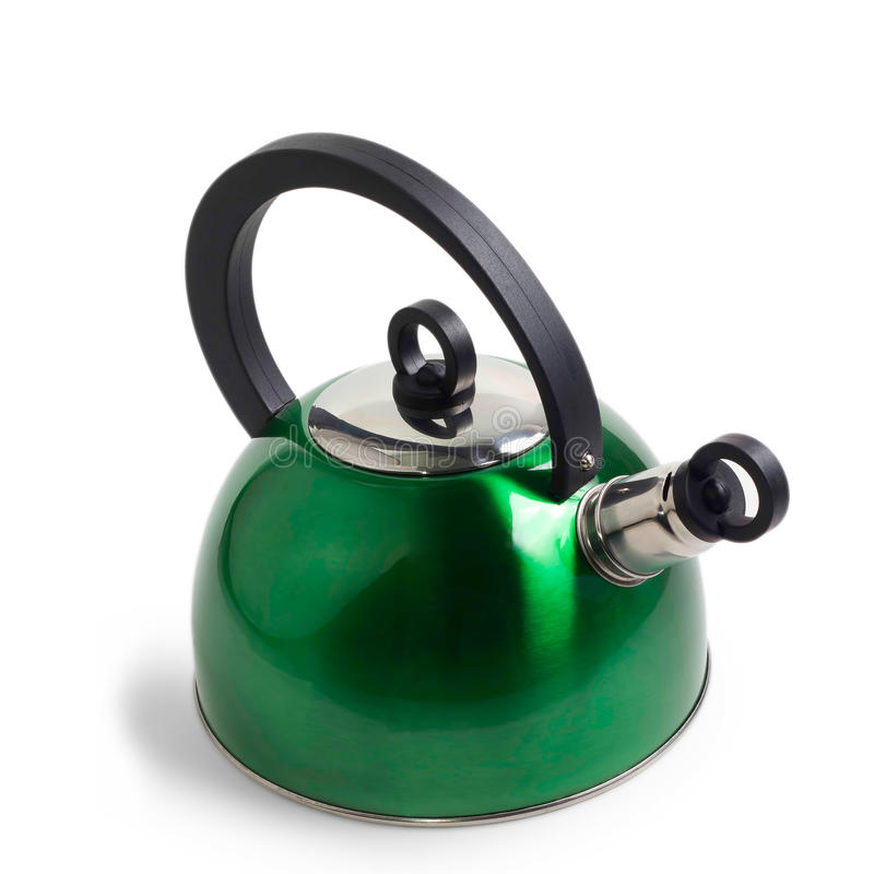 Green iron kettle isolated. On white background royalty free stock images