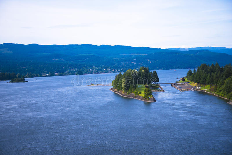 Green island blue water Columbia River scenic Columbia Gorge stock image