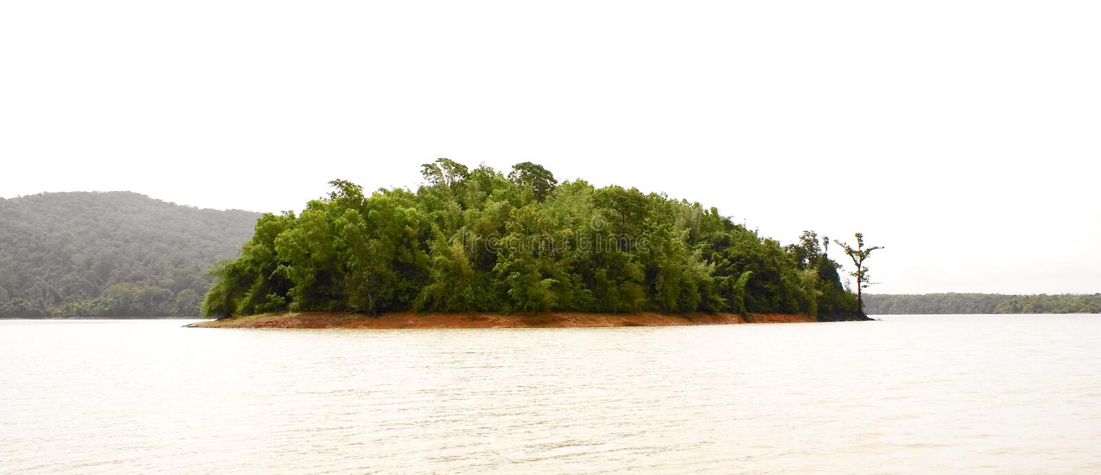 A green island in the middle of the river. royalty free stock photos