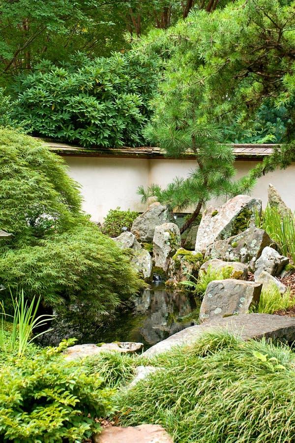 Green Japanese Garden Stock Photo