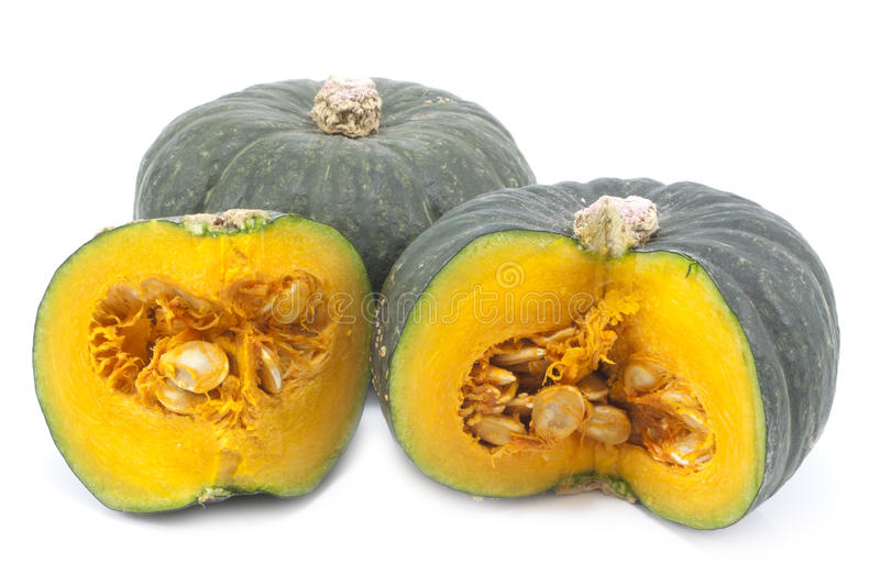 Green Japanese pumpkin isolated on the white background.  royalty free stock photos
