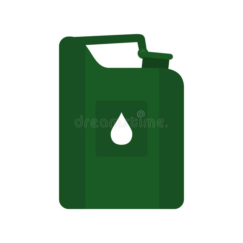 Green jerrycan oil flat icon stock illustration