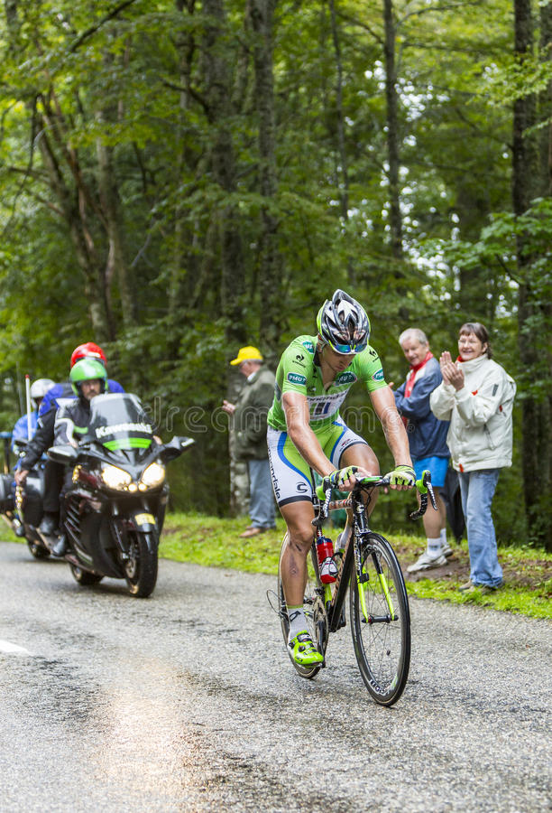 Green Jersey - Peter Sagan. Col de Platzerwasel, France - July 14, 2014: The Slovak Cyclist Peter Sagan (Cannondale Team),wearing The Green Jersey,climbing the royalty free stock photography