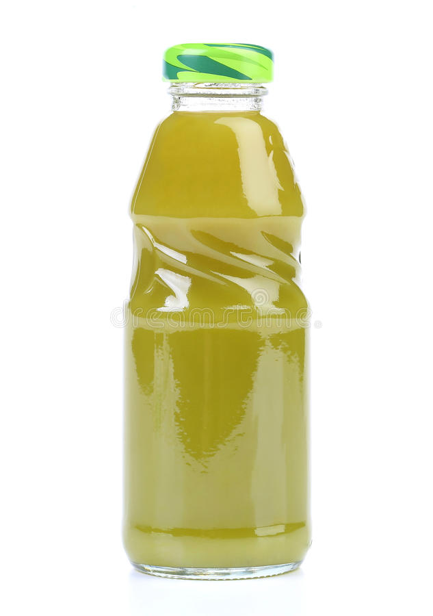 Green Juice bottle. On white background (with clipping path stock images