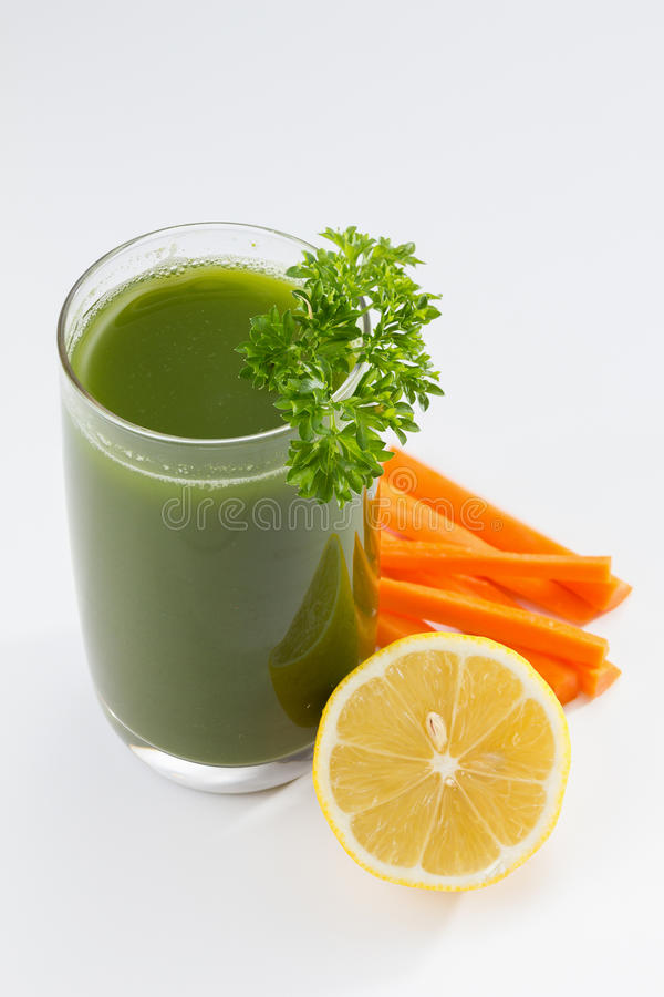 Green Juice. Healthy green vegetable juice, close up royalty free stock photo