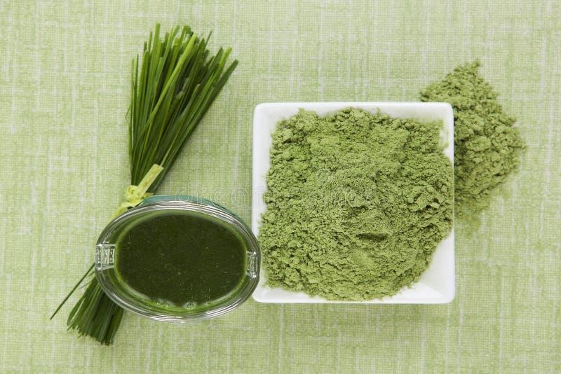 Green juice. Green juice and green superfood. Wheat grass, barley grass, spirulina and chlorella. Detox concept stock photo