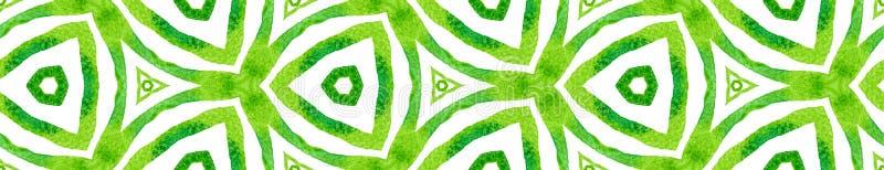 Green kaleidoscope Seamless Border Scroll. Geometr vector illustration