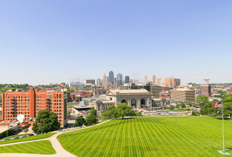 Green Kansas City. Kansas City, USA - May 21, 2016: The Kansas City Union Station seen from the National World War I Museum and Memorial, a public green space in royalty free stock photography