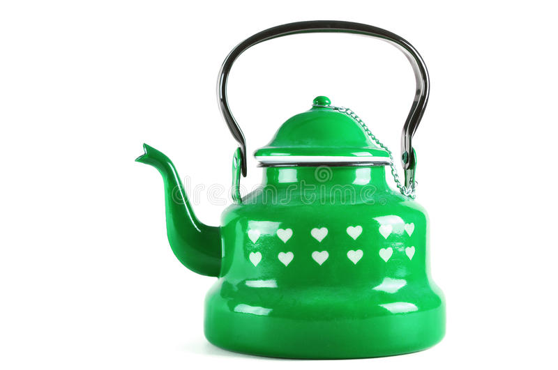 Green kettle isolated on white with clipping. Green kettle isolated on white background with clipping royalty free stock photo