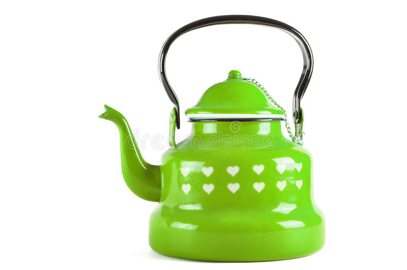 Green kettle isolated on white with clipping. Green kettle isolated on white background with clipping path stock image