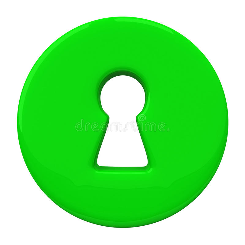 Green key hole, 3d royalty free illustration