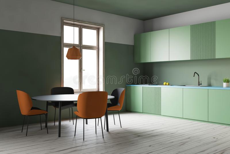 Green kitchen corner, green counters and table royalty free illustration
