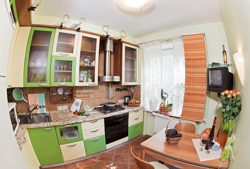 Download Green Kitchen Interior With Many Utensils Stock Image - Image: 11525517