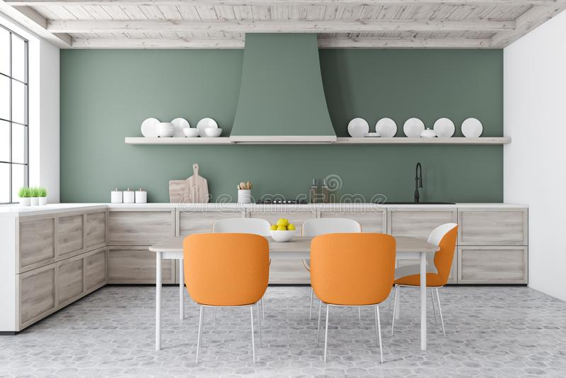 Green kitchen with table and orange chairs. Interior of stylish kitchen with green and white walls, tiled floor, wooden countertops and dining table with orange vector illustration