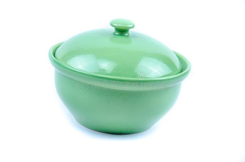 Green kitchen ware. On white background stock photo