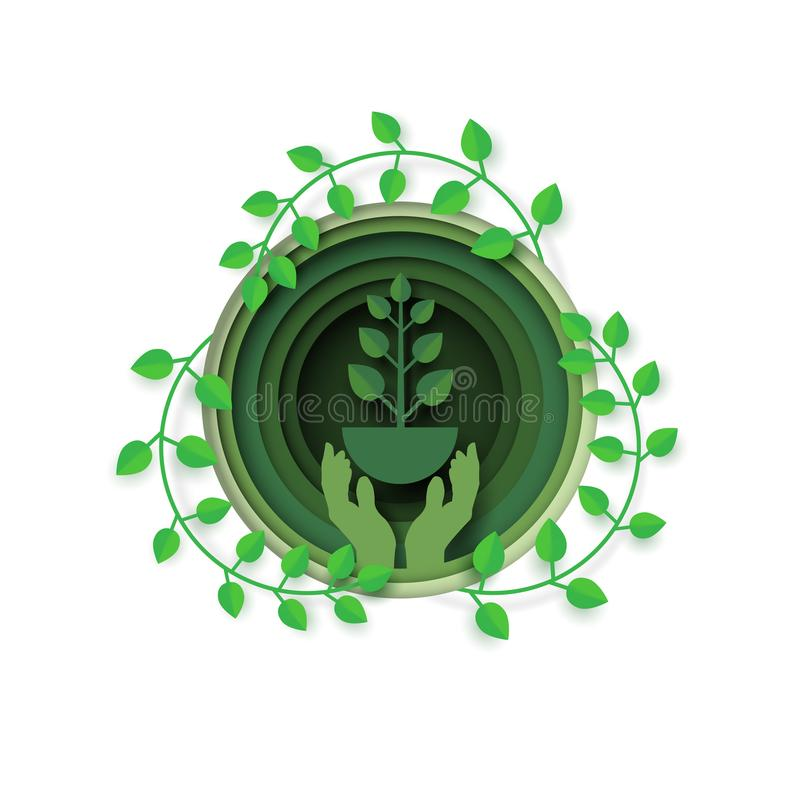 Hand with eco and environment concept vector illustration