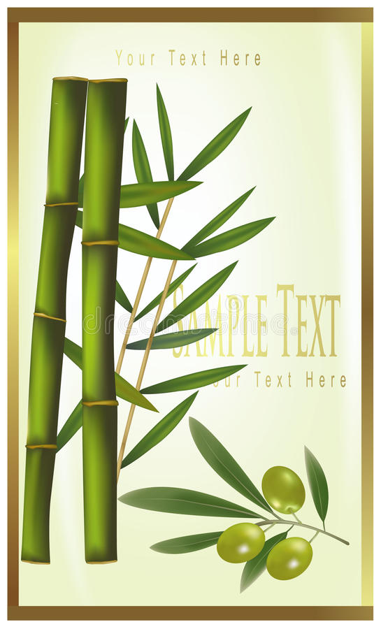 Download Green Label Of Bamboo And Olive Stock Photo - Image: 15829842
