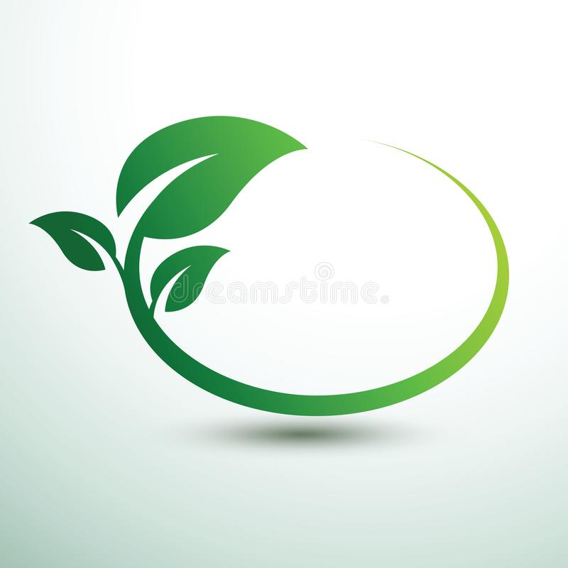 Green labels vector. Green labels concept with leaves Oval shape,vector illustration stock illustration