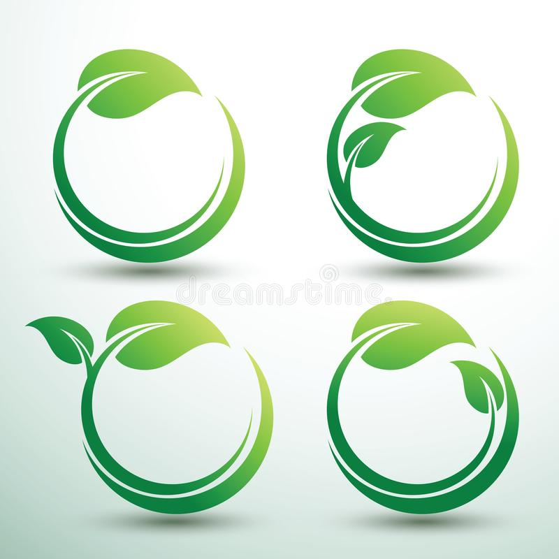 Green labels vector. Green labels concept with leaves Oval shape,vector illustration vector illustration