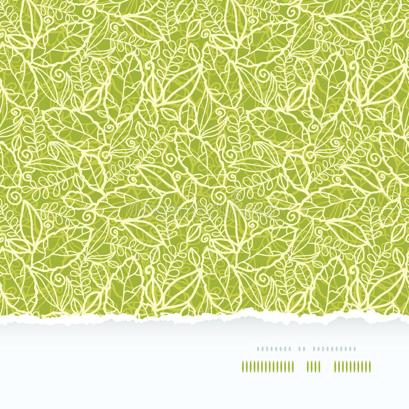 Green lace leaves horizontal seamless pattern stock illustration