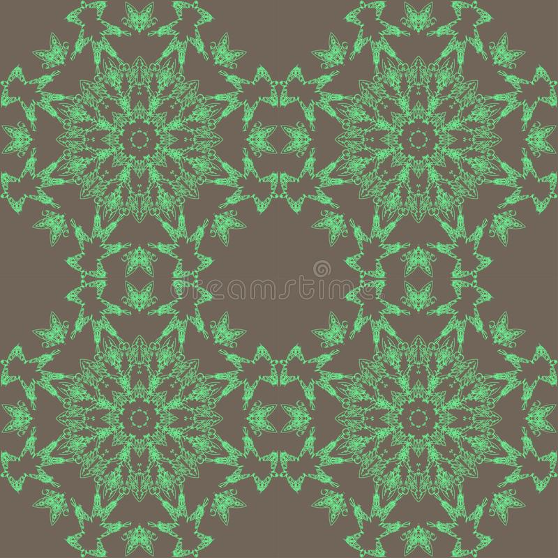 Green lace pattern. Green pattern, exquisite, design, abstract lines on a grey background stock illustration