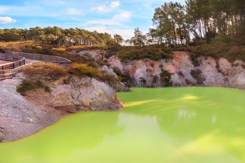 Green lake Devil`s Bath in Wai-o-tapu Wonderland, New Zealand stock images