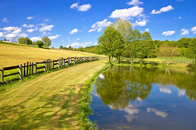 Green lake and fields landscape royalty free stock photos