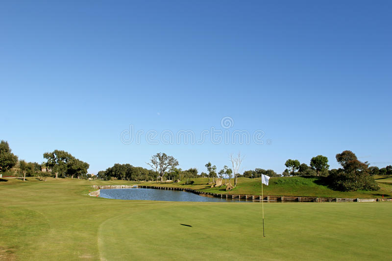 Green and lake on golf course in the sun stock images