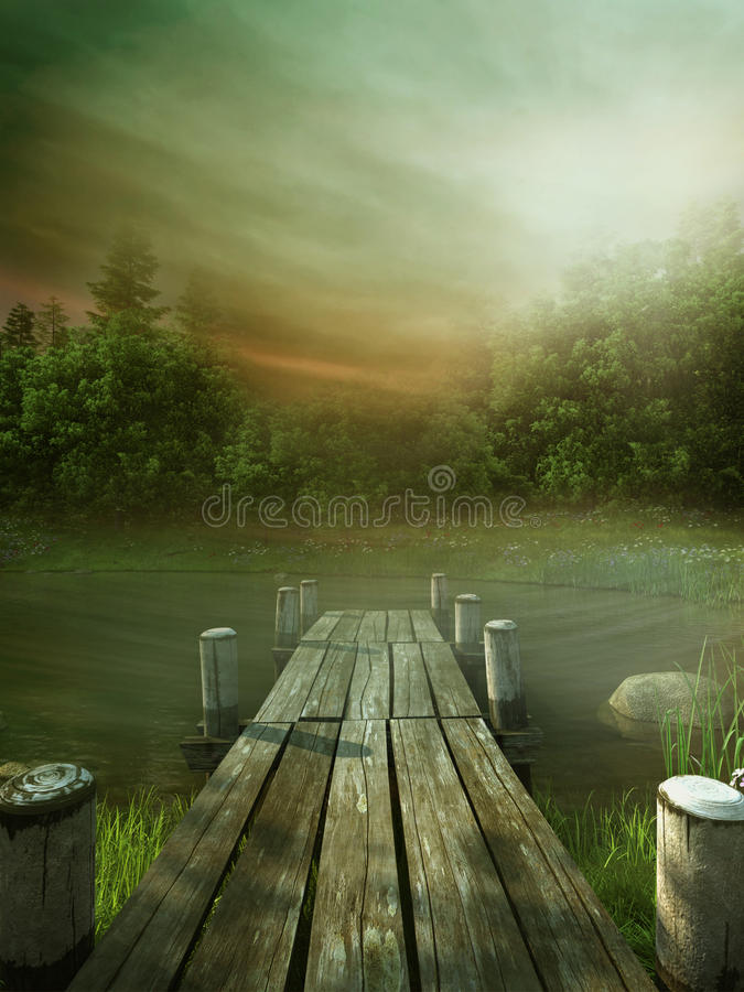 Green lake with a jetty. Green scenery with a lake and a wooden jetty