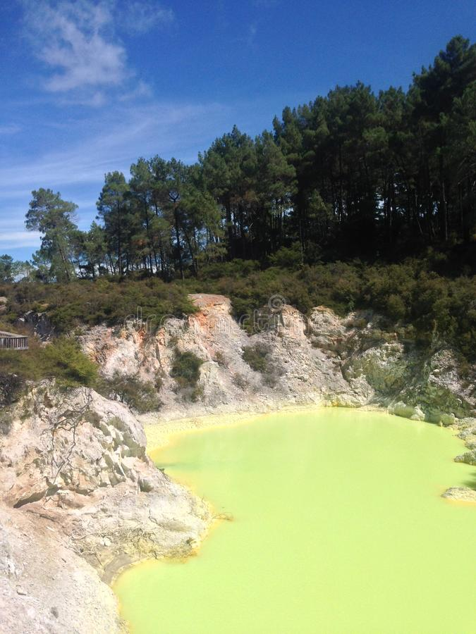 Green thermal lake New Zealand royalty free stock image