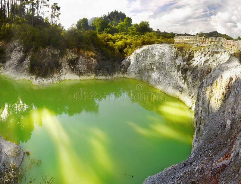 Green Lake, Volcanic Area, Rotorua, New Zealand stock photography